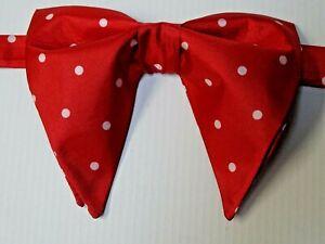 Handmade Red Satin Bow tie Vintage style 70`s Polka Dot Prom Gift Wedding Pretid