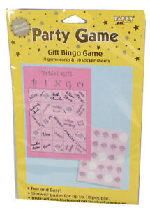 Wedding Shower Bridal Gift Bingo Game 10 Card Set Fun Party Event Activity