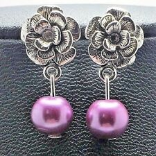 Silver Plated Pearl Rose Dangle Earrings - Womens Jewelry Flower CHOOSE COLOR