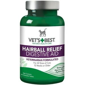 Vet's Best Hairball Relief Digestive Aid Cat Supplement, 60 count  Free Shipping