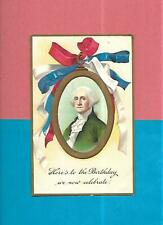 GEORGE WASHINGTON On Colorful Uns. CLAPSADDLE Vintage Unused PATRIOTIC Postcard