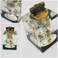 Transpalite acrylic table lighter  paperweight pocket watch dial and movement
