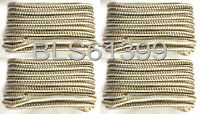 """(4) White & Gold Double Braided 3/8"""" in x 15' ft HD Boat Marine Dock Line Ropes"""