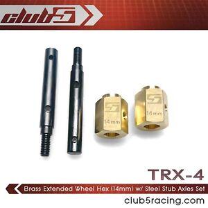 Brass Extended Wheel Hex (14 mm) w/ Steel Stub Axle for TRX-4 Portal Axle