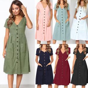 Womens Casual Beach V-Neck Midi Dress Ladies Summer Button Short Sleeve Sundress