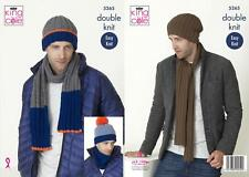 King Cole 5265 Knitting Pattern Mens Scarf Snood and Hats in Big Value DK
