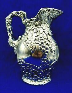 "VTG Arthur Court 1996 Vineyard Pitcher Grape Pattern Sand Casted in Aluminum 10"""