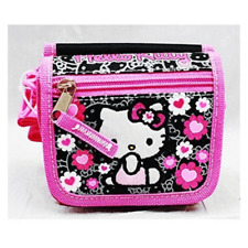 Hello Kitty with Bow Sitting String Wallet Black +Flowers Girls Toys Kids-New!