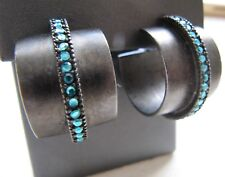 "Giles Brother Hoop Earring 3/4"" Gunmetal Blue Rhinestone Band Crangi G&B"