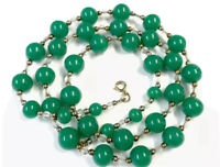 Vintage HEAVY Green Glass Bead 29 INCH LONG Necklace - GIFT BOXED