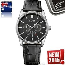 New Hugo Boss Mens Heritage Watch Silver Tone Black Leather Strap Chrono 1513124