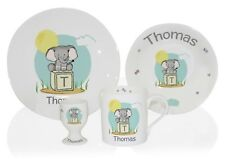 Personalised Elephant Safari Breakfast Set Ceramic Kids Plate Bowl Mug Egg Cup