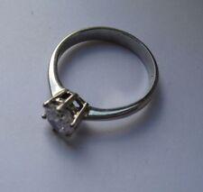 Anillos de joyería con gemas transparentes de Solitario de oro blanco