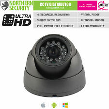 4MP 3.6MM 1080P POE P2P 20M IR BLACK OUTDOOR DOME EYEBALL TURRET IP CAMERA CCTV