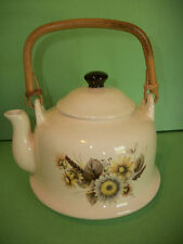 SMALL 4 CUP PORCELAIN KITCHEN TEAPOT w/ YELLOW & BROWN DAISIES w/ BAMBOO HANDLE