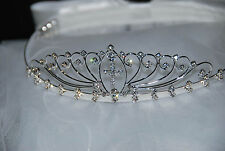 First communion bridal flower girl tiara crown white veil styleV1350