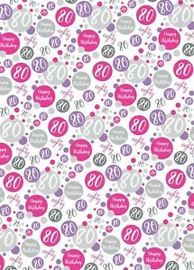2 Sheets 80th Birthday Wrapping Paper Age 80 Gift Wrap Female Pink & White (PA)