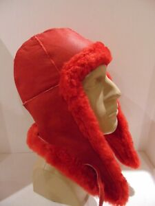 NEW Handmade RED Sheepskin Bomber Aviator Pilot Fur Hat Real Leather size L-XL