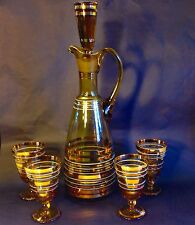 Mid Century Modern Bohemian 6 Piece Glass Decanter & Glasses Set Amber & Gold