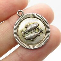 Vtg 925 Sterling Silver Zodiac Pisces Sign Small Charm