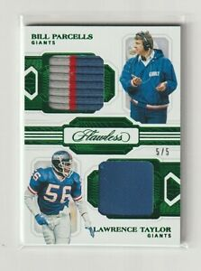 2020 FLAWLESS Bill Parcells-Lawrence Taylor DUAL GAME-USED EMERALD PATCH S/N 5/5
