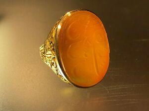 Antique Islamic Qajar Hand Engraved Solid 14 K Gold Agate Men Signet Ring Dated