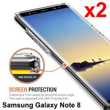 x2 Samsung Galaxy Note 8 TPU transparent clear bumper cushion back case cover