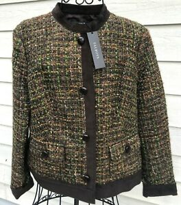 Talbots 10P Brown Lime Green Boucle Knit Faux Suede Trim Blazer Jacket NWT