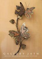 MID CENTURY MODERN BRUTALIST BUTTERFLIES METAL WALL ART! VTG 60S ATOMIC DECOR!