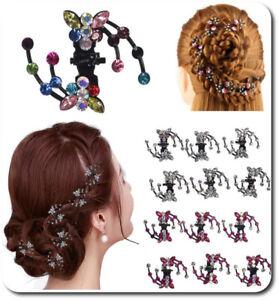 Set 6 Haarklemmen Schmetterling Haarklammer Haarclips Mini Haarkrebs Strass