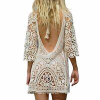 Women's Bathing Suit Cover Up Crochet Lace Bikini Swimsuit Dress (White, M)