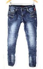 Place du Jour Vintage Jeans Hose Stretch Gr. 40 Blau Reißverschlüsse NEU