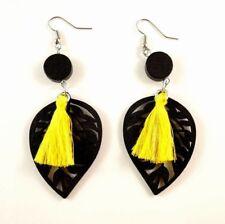 Yellow Cotton Tassels Lightweight Laser Cut Black Wood Dangle Earrings #422