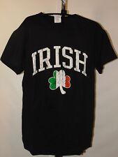 IRISH COLORS SHAMROCK BLACK  SHORT SLEEVE T-SHIRT SIZE MED NEW