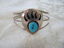 Native American Sterling Silver Turquoise Bear Claw Shadowbox Rope Cuff Bracelet
