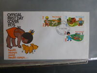 1975 NEW ZEALAND HEALTH STAMPS FARM ANIMALS SET 3 STAMPS FDC FIRST DAY COVER
