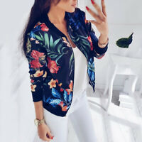 Fashion Women's Retro Floral Zipper Bomber Jacket Baseball Coat Outwear S-5XL **