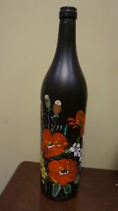 """19"""" TALL X 4"""" WIDE BOTTOM HANDPAINTED RED-WHITE FLOWERS BOTTLE HOME DECOR"""