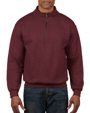 Gildan Heavy Blend Sweatshirt Cadet Collar Zip Casual Smart Jumper Men's S-3xl Maroon L