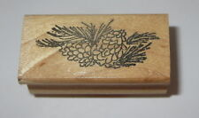 Pine Cones Branches Rubber Stamp Trees Stampourri Needles Wood Mounted Detailed