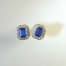 Earrings 14k White Gold Sapphire Vintage & Antique Jewellery