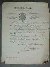 MARINE ROYALE. Désarmement du Vaisseau « Les Deux Frères ». Port de Saintes.1827
