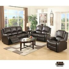3 Set Sofa Loveseat Chaise Couch Recliner Leather Living Room Furniture Brown