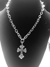 Lois Hill Sterling Silver Granulated Scroll Cross Pendant Toggle Clasp Necklace