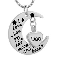 Cremation Memorial keepsake, Dad heart & moon Pendant and Necklace for Ashes.