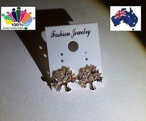 Beautiful and Stunning 2 Colours Sparkling Rhinestone Tree Fashion Earrings
