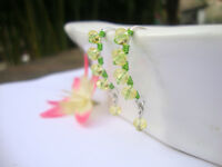 YELLOW Crystal Silver Marquise Dangle Earrings Artisan GREEN Wire USA HANDMADE
