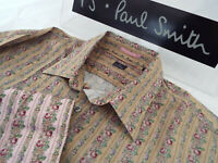 """PAUL SMITH Mens Shirt 🌍 Size L (CHEST 44"""") 🌎 RRP £95+📮 FLORAL AND STRIPES"""