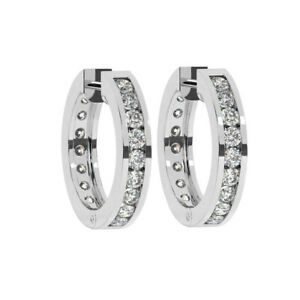 0.50CT Pave Set Round Brilliant Cut Diamonds Hoop Earrings in 9K White Gold