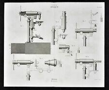 1859 Antique Didot Print Optics Chevalier Universal Microscope Mirror Lens Focus
